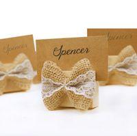 Wholesale vintage paper clips - Vintage Linen Bow table place card Clip Wedding Decorations for Party Table Deco