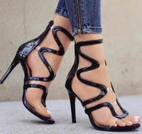 ff5892a48 2018 Clear Straps Patchwork Women Black Nude Patent Leather Sandals Sexy  Open Toe Ladies Cut Out High Heels Female Club Fashion Shoes