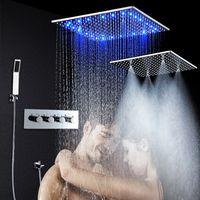 Wholesale temperature changing shower head - LED Ceiling Shower Set 20 Inch constant temperature Change Mist Rain Bathroom Shower Head Multiple Functions Shower Diverter