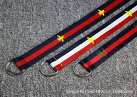Wholesale canvas belt ring buckle - Nylon embroidered canvas D buckle belt buckle ring all-match lady Korean male Ladies Belt