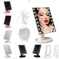 Wholesale tabletop night lights - 16 LED 22 LED Light Touch Screen Makeup Mirror Tabletop Lighted Cosmetic 360 Rotate Rotation night light cosmetic mirrors KKA3901