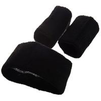 banda para la cabeza negra al por mayor-5Set Sale Black Retro 80's Head Muñequera Sweatband Set