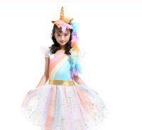 asas de tutu venda por atacado-New Kid Bebés Meninas do arco-íris saia tutu Unicorn Headband 3 Pcs / lot Outfits Partido Mostra Execute Saia Vestido + asa + Headhend Set