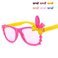 мультфильм очки кролик оптовых-Мультфильм дети солнцезащитные очки милый кролик уха бантом детские очки Мода мальчик и девочка очки многоцветные 2 7gd с