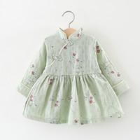 çince cheongsam çocuklar toptan satış-2018 sonbahar yeni Bebek kız elbise giyim Çocuklar Çin tarzı çiçek baskı cheongsam Elbise kızlar için 1-2 Yıl!