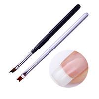 siyah fransız ipuçları toptan satış-1 Adet Akrilik Fransız Ucu Tırnak Fırçası UV Jel Boyama Fırça Siyah Gümüş Kolu Tırnak Tasarım Çizim Kalem Sanat Aracı
