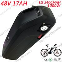 bisiklet hücresi toptan satış-Yüksek Kapasiteli Elektrikli Bisiklet Aşağı Tüp Pil 48 V 17AH 18AH 1000 W LG cep Li-Ion Pil Paketi kullanın E-bisiklet Motor k ...