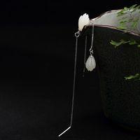 нефрит цветок серьги оптовых-Hutang Gemstone Jade Earrings 925 Solid Sterling Silver White Flower Fine Fashion Stone Jewelry For Women's Girl's Gift New