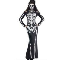vestidos de fiesta xxl al por mayor-Disfraces de Halloween Sexy Festival Fantasma Horror Esqueleto Vestidos combinados Vestido de fiesta Vestido de Cosplay Ropa Mujeres Nuevo
