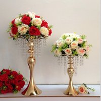 ingrosso bouquet vasi matrimonio-12pcs 33cm 48cm Bouquet da sposa Flower Ball Centrotavola decorazione Flower Vase Stand Ferro Flower Display Rack Road Lead