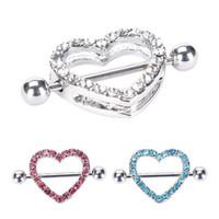joyería del pezón del pezón al por mayor-2Pc Nipple Ring Heart Gem Dangle Chain Nipple Shield Ring Joyería del cuerpo Pezón Shield Anillos Joyería Helix Piercing Barbell