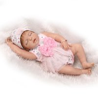 "Wholesale Silicone Women Doll - Wholesale- 23"" 57cm Reborn Baby Dolls Silicone full body Girl Lifelike Sleeping Girl Doll Women Nursing Treats Shooting Props"