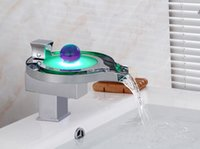 Wholesale Led Bathtub Faucet - 3 Colours change bathroom water basin faucet mixer,Copper single handle waterfall basin faucet LED,Chrome plated bathtub