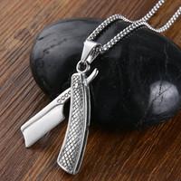ingrosso argento stratificato collana turchese-Collana gioielli da uomo Valily Collana con pendente Barber Shaver Collana a forma di rasoio con pendente in acciaio inossidabile per collane lunghe da uomo