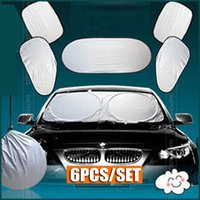 Wholesale wholesale windshield sun visors cars for sale - 6pc set Car Window Sun Shade Shield Visor Windshield Cover Front Rear Blind Silver