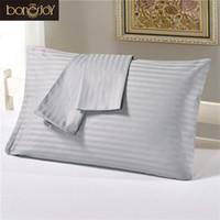 Wholesale bedding for queen size beds for sale - 100 Pure Cotton Pillow Case Grey Color Plaid Printed Pillow Cover For Queen Size Bed Striped Pillow Shams