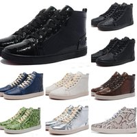 comfort wedding shoes 2018 - NEW Snakeskin Red Bottom Sneakers Luxury Designer High Top Skate Sneakers Mens Womens Casual Shoes Brand New Comfort Wholesale Price 36-46