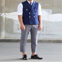 Wholesale ivory wedding waistcoats - 2018 Blue Double Breasted Business Vest Wedding Vests Formal Handmade Custom Made Men Waistcoat Vest