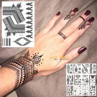 ingrosso tatuaggi neri di hennè-25 stili sexy pizzo nero henné autoadesivo del tatuaggio temporaneo per le donne mano gioielli Tatoo pasta adesivi tatuaggio falso body art tatuaggio
