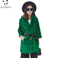 Discount wide adjustable belt - High Quality Real Natural Rex Rabbit Fur Coat New Women Tailored Collar Jacket Ladies Fashion Warm Parka Winter Outwear LCY1090