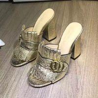 новые пятки дизайна оптовых-Новое прибытие бахрома кисточкой Гладиатор сандалии женщина открытым носком коренастый туфли на высоком каблуке женщины Марка дизайн Мюллер обувь size35-40