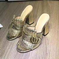 yeni varış yüksek topuklu ayakkabı toptan satış-Yeni Varış Fringe Püskül Gladyatör Sandalet Kadın Açık Toe Tıknaz Yüksek Topuk Ayakkabı Kadın Marka Tasarım Muller Ayakkabı size35-40