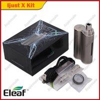 Wholesale e liquid x - 100% Original Eleaf Ijust X 50W Kit 3000mAh 7ml E-liquid Capacity E cigarette Starter Kit Black SS Color