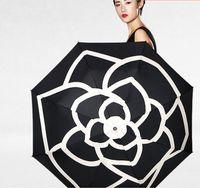 зонт оригинал оптовых-Женщины зонтик роскошный классический Камелия логотип оригинальный модный бренд портативный автоматический 3 раза пляж зонтик дождь зонтик УФ Bumbershoot