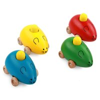 Wholesale mini mouse toys - Mini Wooden Mouse Car Toy Cartoon Creative Sounding Animal Toys Children Gift Multi Color 6yb C R