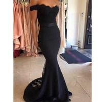 siyah elbiseler uzun tatlım nedime toptan satış-Mezuniyet Elbiseleri Ücretsiz Kargo Yeni Uzun Siyah Dantel Gelinlik Modelleri 2017 Kapalı Omuz Sevgiliye Şifon Nedime Elbisesi Kadın Parti törenlerinde