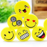 emoji eraser großhandel-2018 New Fashion Cute Smile Emoji Radiergummi Grundschüler Lernpreise Großhandel Cartoon Gummi Radiergummis