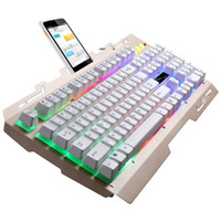 ingrosso tastiera leggera nera-PARASOLANT Metal Light Mechanical Feel Wired USB PC Gamer Keyboard Glod Black 104 Keys Computer portatile Tastiera da gioco universale