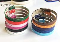 браслет неподдельной кожи скольжения очаровывает оптовых-CCOR 50PCS 8*210MM Genuine Leather Wristband Bracelets DIY Accessory Fit 8mm Slide Letter /Slide Charms Slide ,SWD003