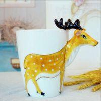 copa de elefante al por mayor-Ecológico 3d Animal Jirafa Pintado a mano Tazas de café de cerámica Leche Tazas de té Cute Cartoon Elephant Dolphin Penguin Sika Deer Cups Gift