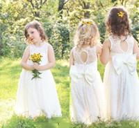 Wholesale cheap cupcake dresses - 2018 New Cupcake Full Lace Garden Flower Girl Dresses For Weddings Boho Fashion Little Baby Communion Dress Cheap A Line Kids Formal Wear