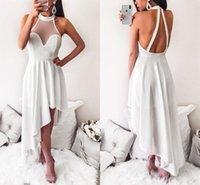 beyaz halter kısa süreli evde kıyafetler elbiseler toptan satış-Seksi Backless Beyaz Kısa Gelinlik Modelleri Yüksek Boyun Saten Yüksek Düşük Parti Elbiseler Custom Made Halter Mezuniyet Elbiseleri