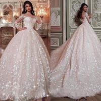 ingrosso vestito da cerimonia nuziale misura in rilievo-Arabia Saudita Dubai Rosa Abiti da sposa Shiny Paillettes in rilievo aderente Ball Gown maniche lunghe Abiti da sposa abiti formali di lusso