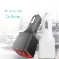 Wholesale ion air cleaners - KROAK 3 USB Car Charger Air Negative Ion Ionizer Oxygen Generator Cleaner Air Purifier Car Power Adapter