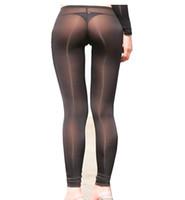 naylon bacaklar toptan satış-Kadın Seksi Şeffaf Sıkı Pantolon Naylon Legging See Through