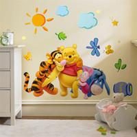 ingrosso 3d animali decorazione-Carta da parati asilo Camera dei bambini per bambini Arte murale in 3D Poster Animali in pvc fai da te Adesivo da parete rimovibile Home Decor 2 2kx bb.