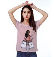 Wholesale buy girl - Track Ship+New Hot Fresh Vintage Retro T-shirt Top Tee Chocolate Skin Fashion Lady Girl Window Shopping Buy Lot of Things 1428