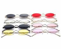 moldura oval pequena venda por atacado-Pequeno Oval Sunglasses Moda Mental Quadro Designer Vintage Retro Rodada Óculos De Sol para Feminino Masculino LJJD11