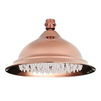 Wholesale Vintage Bathroom Wall - 8 inch Antique Vintage Red Copper Rose Gold Round Bathroom Rain Shower Head Home Bathroom Product Fixture