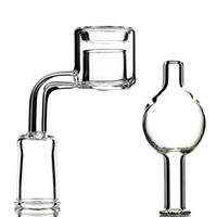 Wholesale Thermal Kit - Wholesale Double Layers Quartz Thermal Banger With Carb Caps For Glass Bongs Water Pipes 14.4mm Female Male Joint Bong Accessories Kit