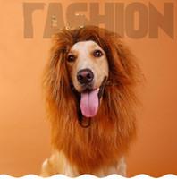 aslan yelesi kılık toptan satış-Yüksek Kaliteli Pet Saç Aksesuarları Pet Kostüm Kedi Cadılar Bayramı Giysi Fantezi Elbise Up Aslan Mane Peruk Köpekler Için Festivali Giyinmek