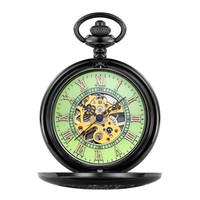 antik kadın saatleri toptan satış-ORKINA Antik Erkek Kadın Işıltılı Pocket saat Siyah Kılıf Kazınmış Kapak ile Mekanik Iskelet Fob Gece Işığı ile Izle