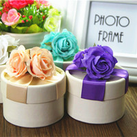 ingrosso scatola rotonda del fiore di trasporto-scatole di regalo di nozze di carta rotondo di trasporto libero con il fiore variopinto, 75pcs / lot, BY170425