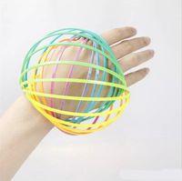 kunststoff-armbänder großhandel-Kinder Kunststoff Hoop Dekompressionsspielzeug Rainbow Circle Flow Ring Arm Slinky Armband Muster Toroflux Magic Armband Flowtoy 4 5bq W