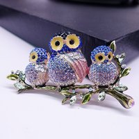 broches de búhos al por mayor-Fairy Tale Castle Fashion Colored Drawing Full Rhinestone Double Owl Retro Brooch Estilo de las mujeres High Stall Broth Pin A911