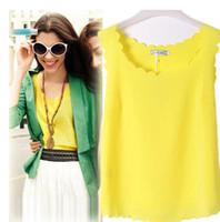 Wholesale drape tank top - Women Summer Chiffon Wavy Vest 15 Colors Top Sleeveless Blouse Casual Tank Tops T-Shirt EEA424 20PCS